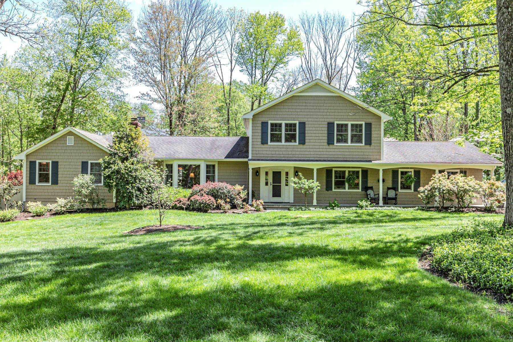 Single Family Homes for Sale at Expansive Colonial with Pool in a Serene Setting 38 Crooked Tree Lane, Princeton, New Jersey 08540 United States